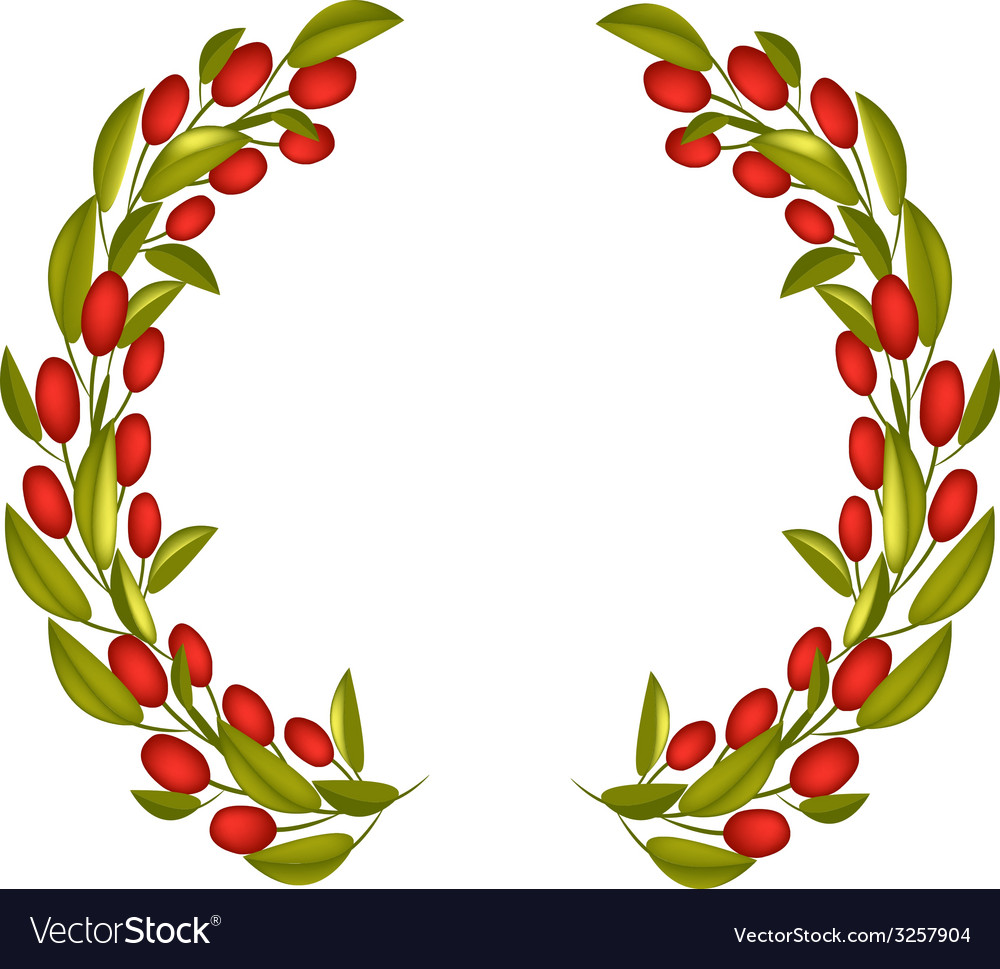 Olive wreath or olive crown with red fruit vector | Price: 1 Credit (USD $1)