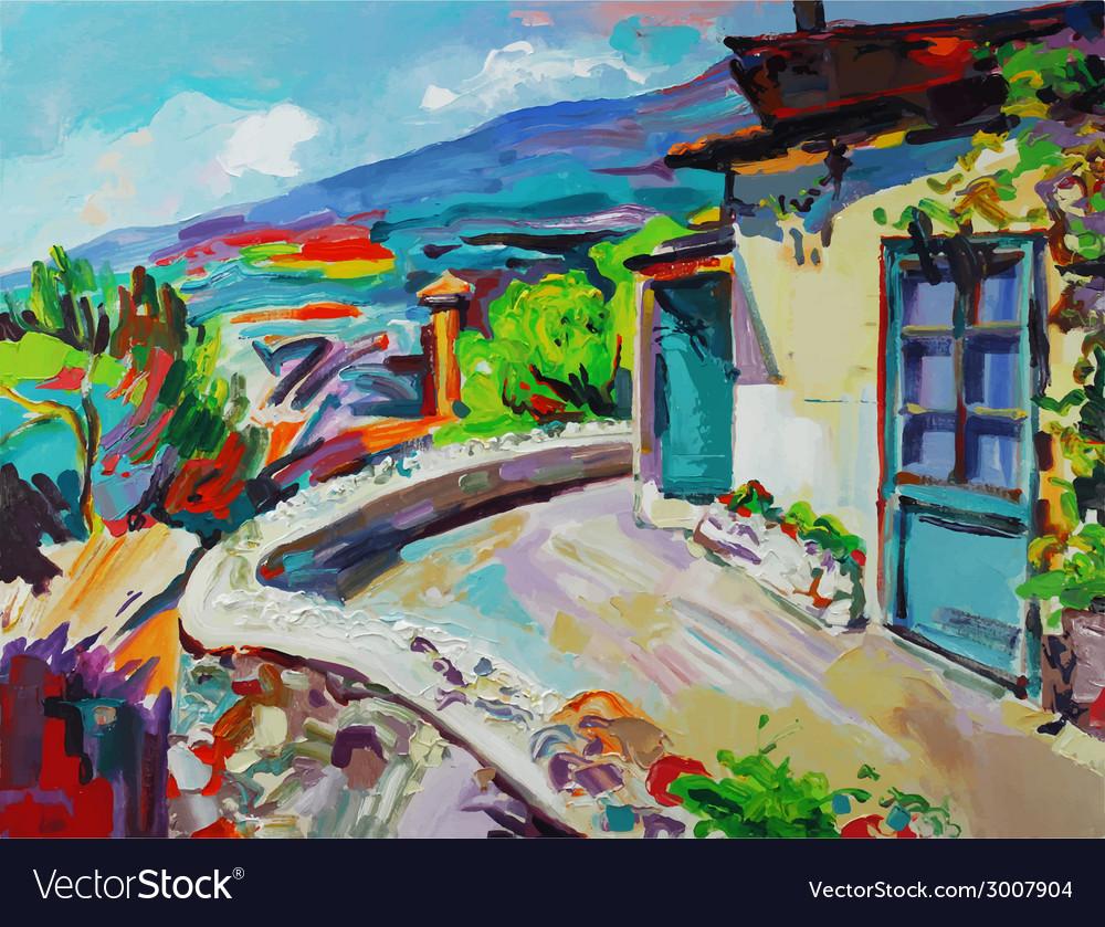 Original art composition of summer landscape vector   Price: 1 Credit (USD $1)