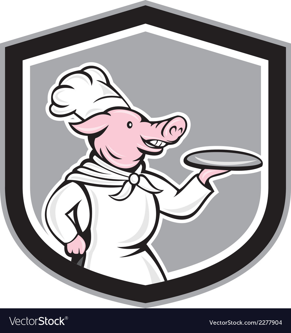 Pig chef cook holding dish cartoon vector | Price: 1 Credit (USD $1)