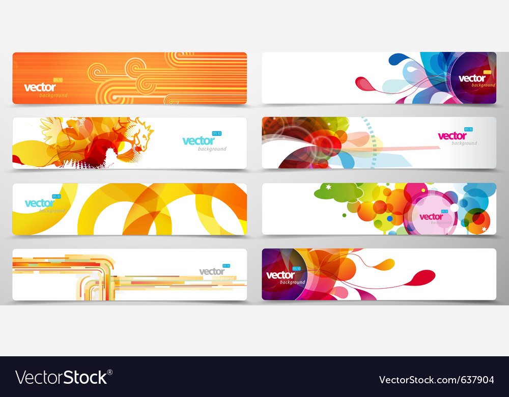 Set of abstract colorful web headers vector | Price: 3 Credit (USD $3)