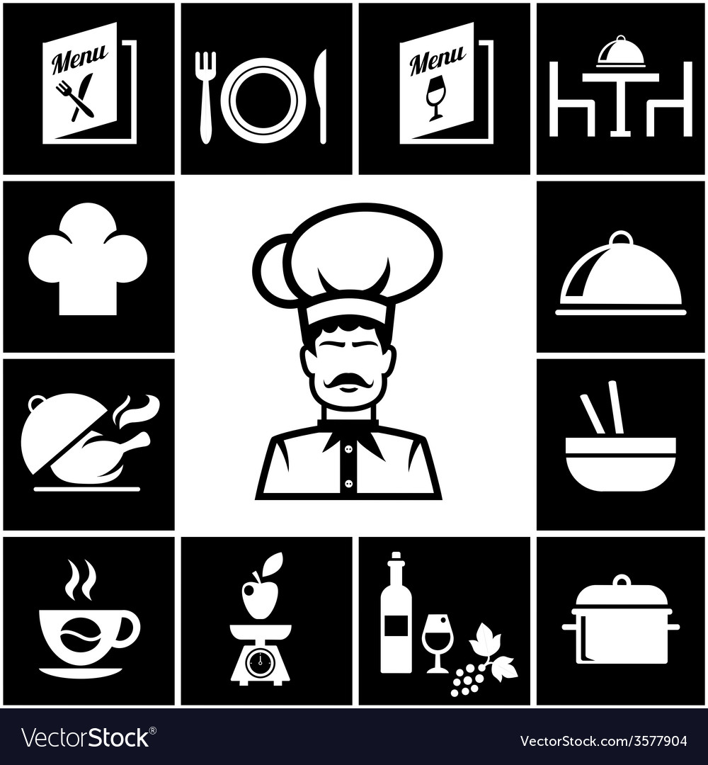 Set of restaurant icons in white on black vector | Price: 1 Credit (USD $1)