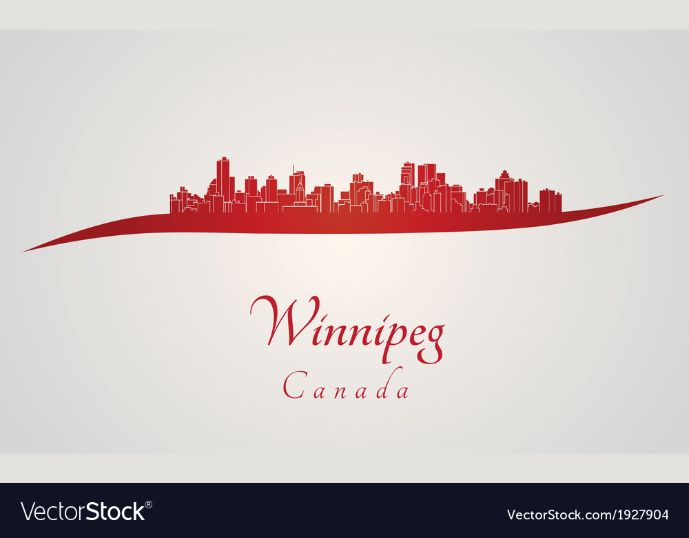 Winnipeg skyline in red vector | Price: 1 Credit (USD $1)