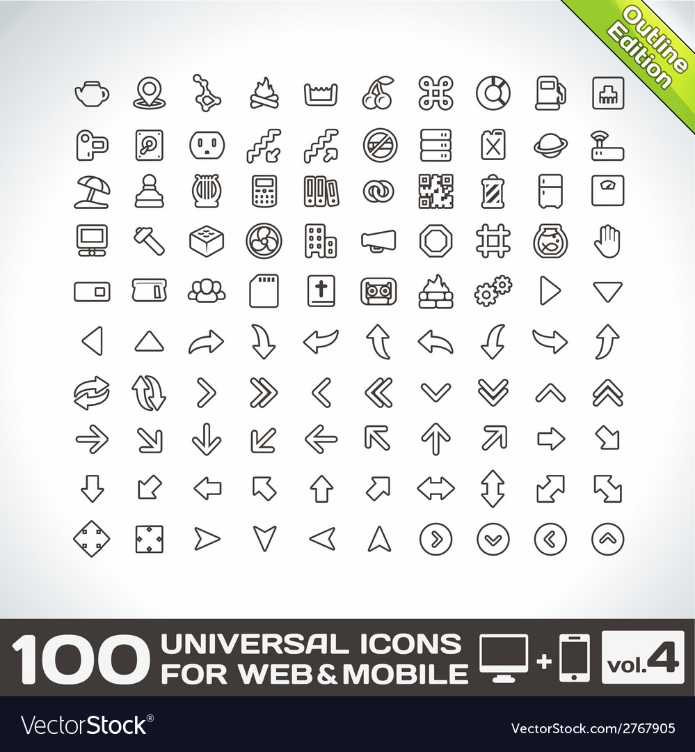 100 universal icons for web and mobile volume 4 vector | Price: 1 Credit (USD $1)