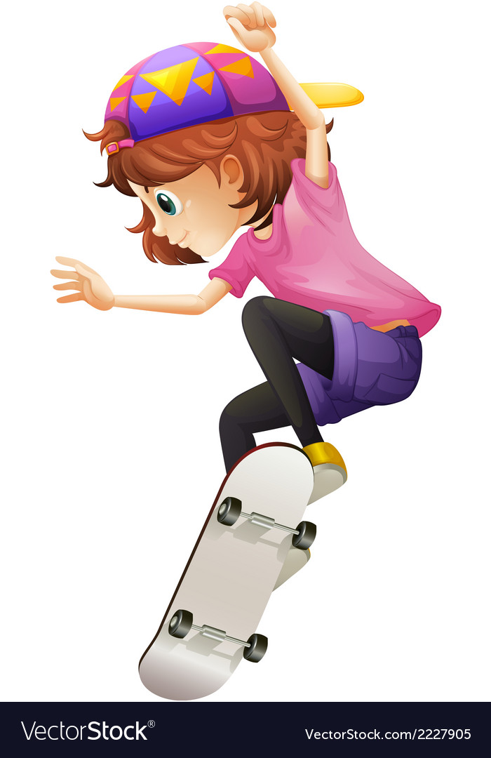 An energetic young lady skating vector | Price: 1 Credit (USD $1)