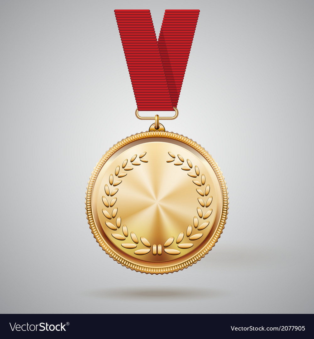 Gold medal on red ribbon vector | Price: 1 Credit (USD $1)