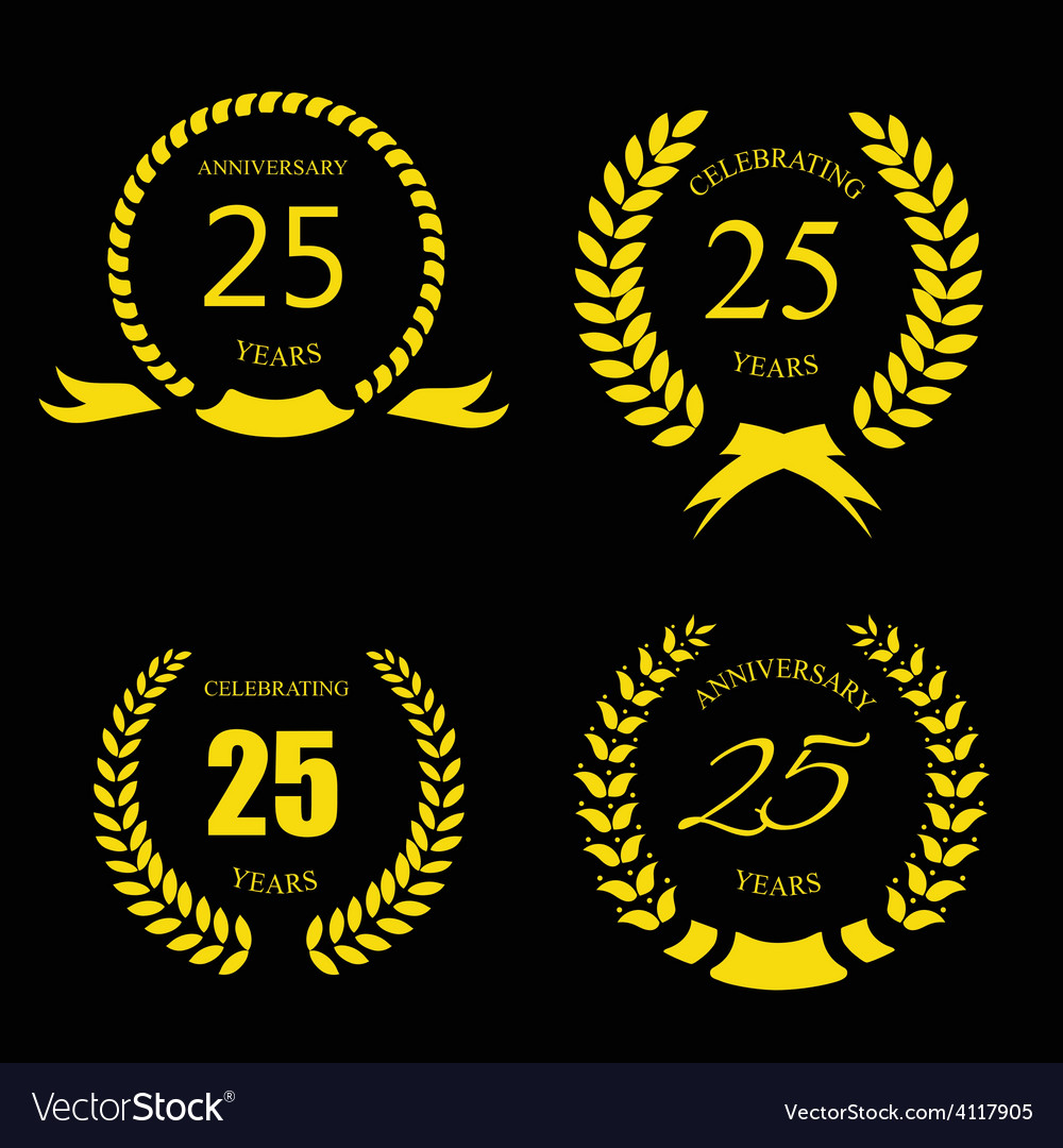 Golden laurel wreath 25 years set - jubilee vector | Price: 1 Credit (USD $1)
