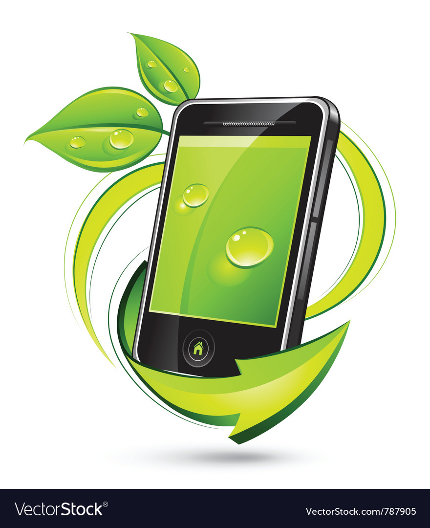 Green mobile phone vector | Price: 3 Credit (USD $3)