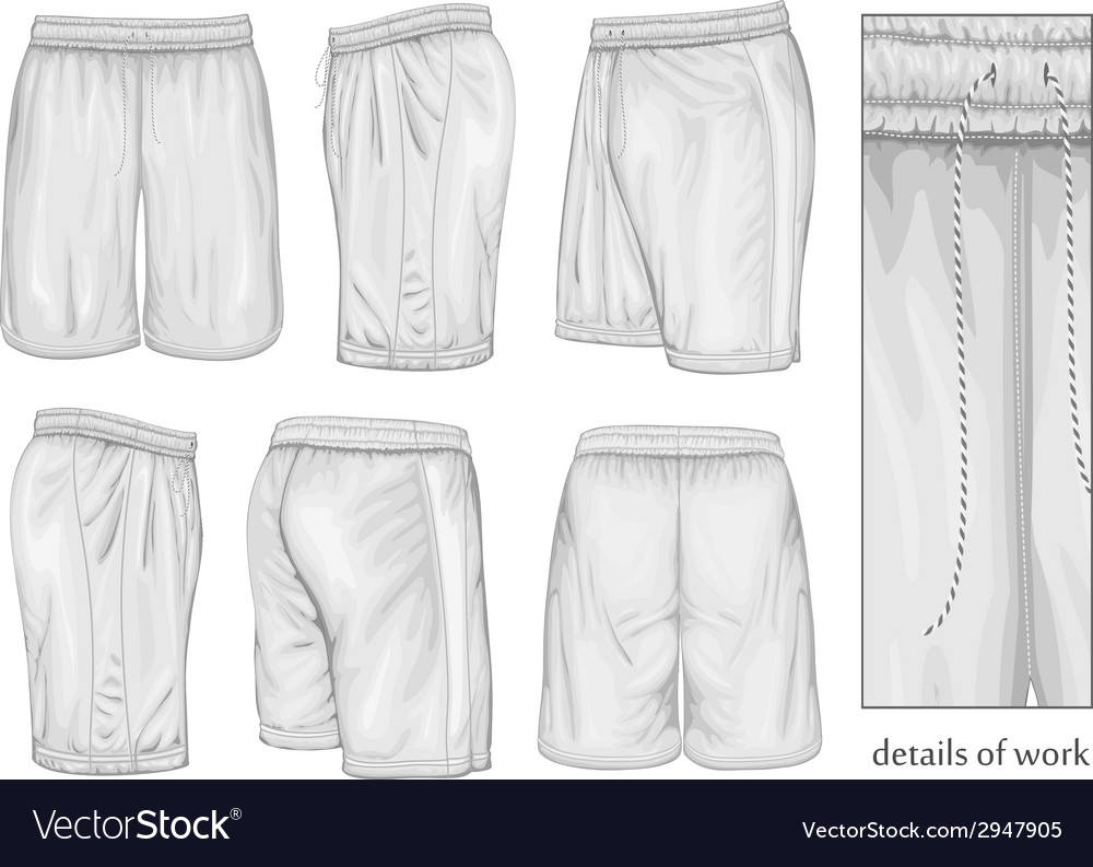 Mens white sport shorts vector | Price: 1 Credit (USD $1)