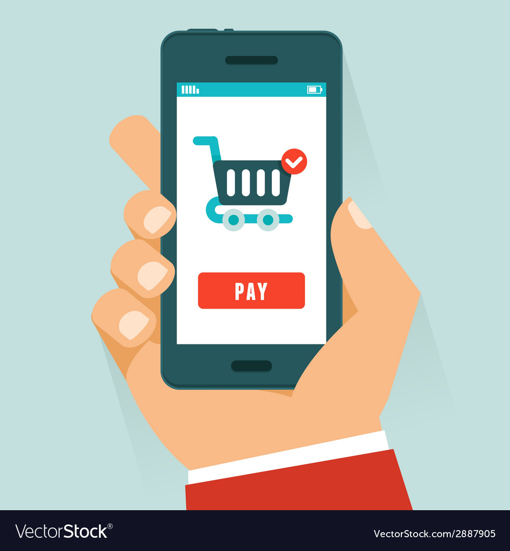 Mobile payment concept in flat style vector | Price: 1 Credit (USD $1)