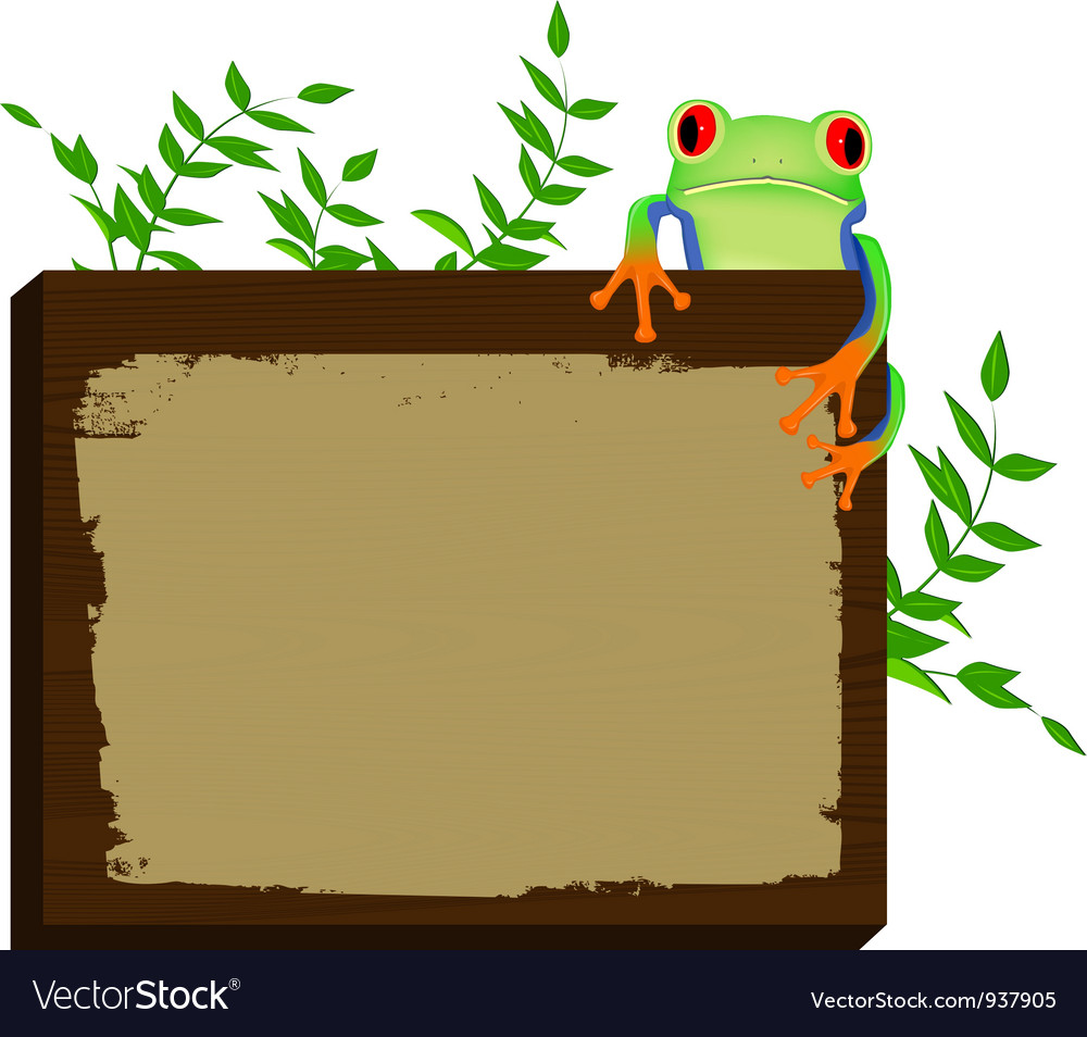 Red eyed tree frog sitting on wood background vector | Price: 1 Credit (USD $1)