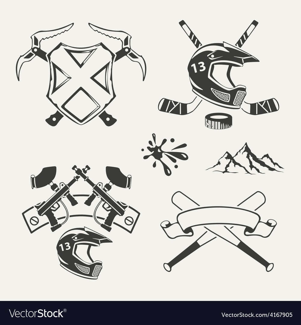Set of extreme sports emblems badges labels and vector | Price: 1 Credit (USD $1)
