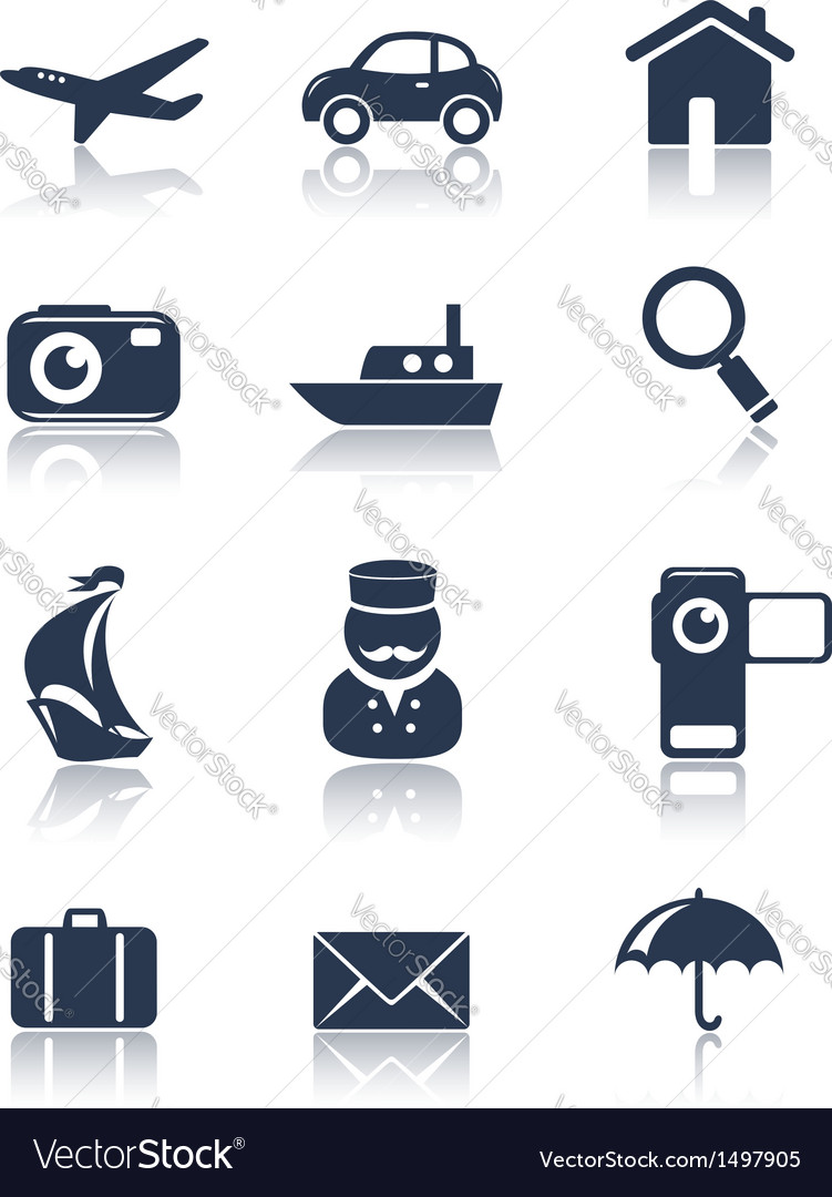 Travel icons set vector | Price: 1 Credit (USD $1)