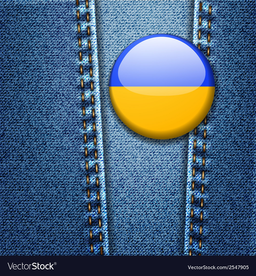 Ukraine flag badge on jeans denim texture vector | Price: 1 Credit (USD $1)