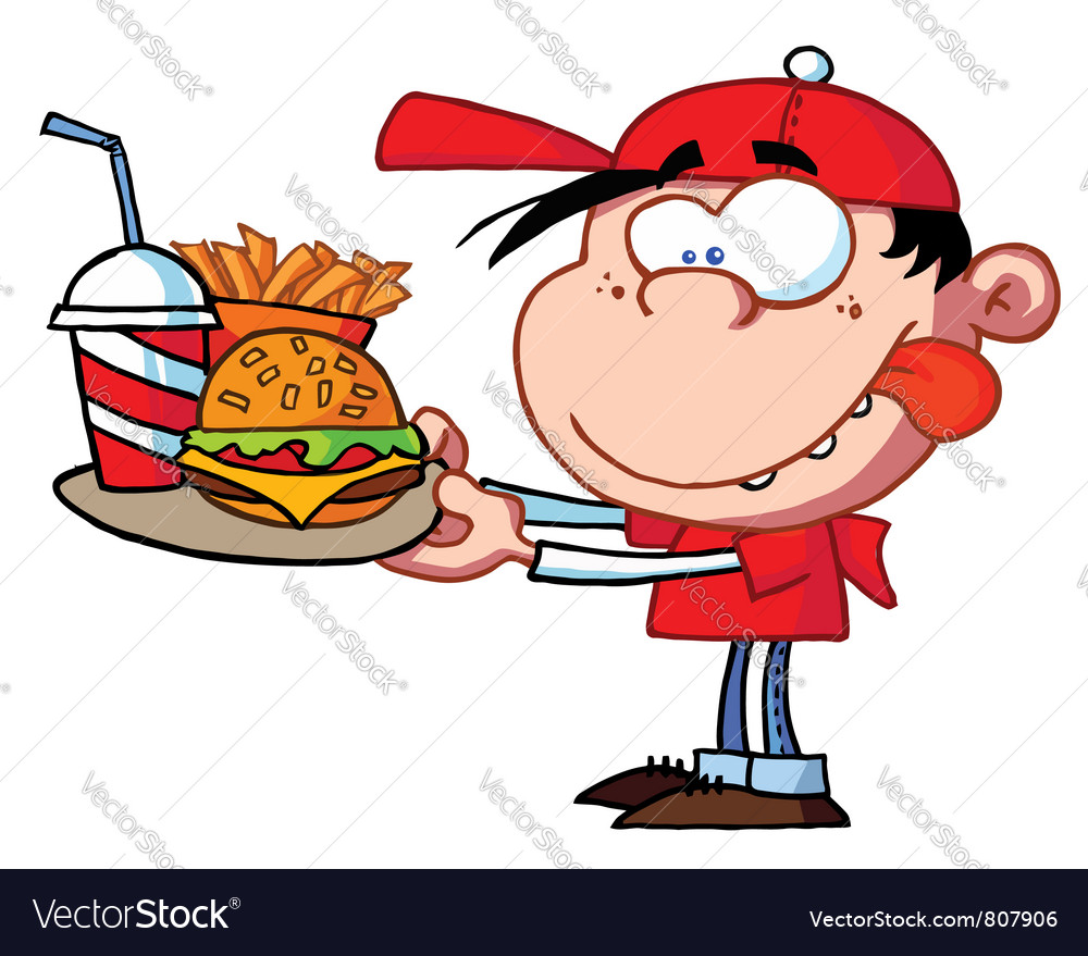 Boy eating fast food vector | Price: 1 Credit (USD $1)