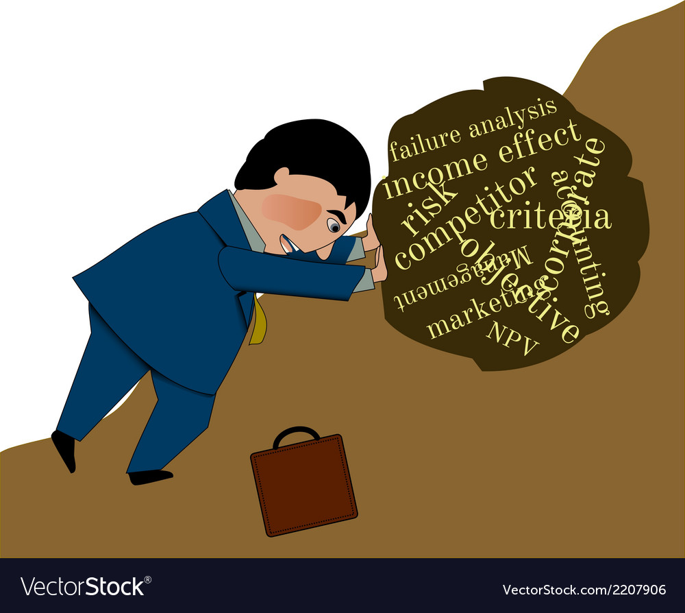 Business man struggling uphill vector | Price: 1 Credit (USD $1)