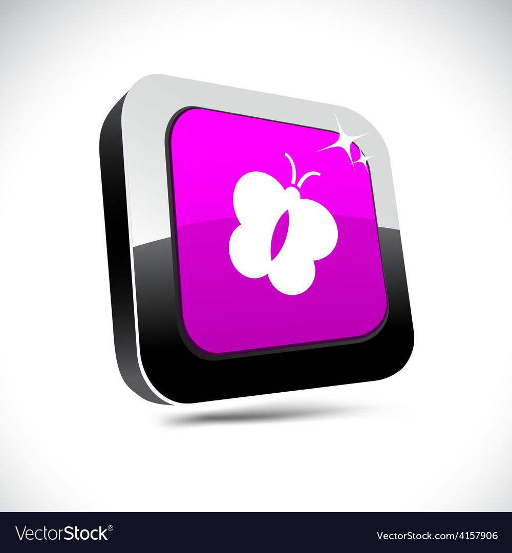 Butterfly 3d square button vector | Price: 1 Credit (USD $1)