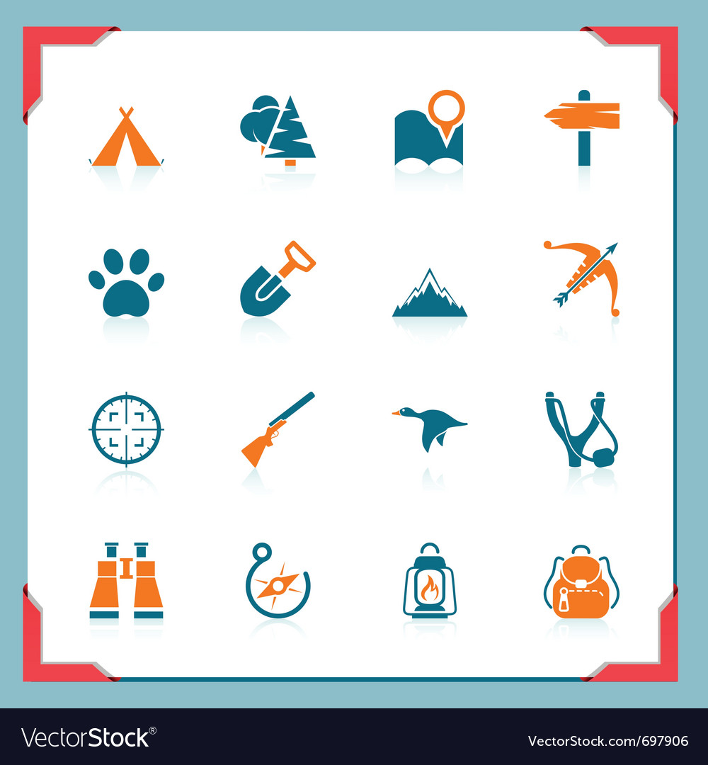 Camping and hunting icons - in a frame series vector | Price: 1 Credit (USD $1)