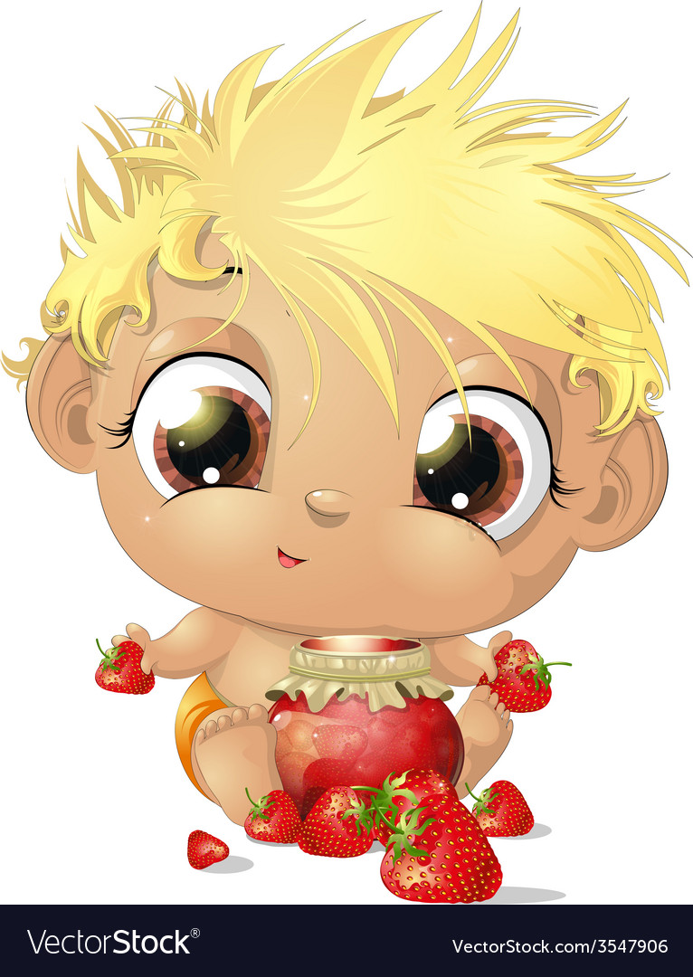 Child eating strawberries vector | Price: 3 Credit (USD $3)