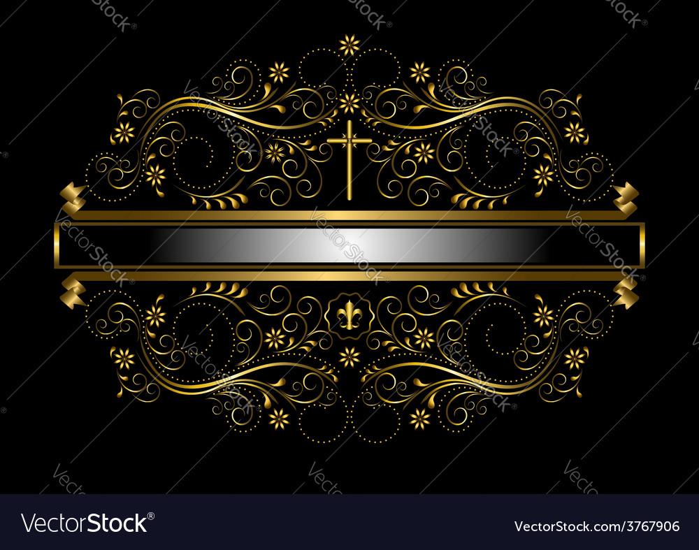 Gold frame in the framed delicate floral pattern vector | Price: 1 Credit (USD $1)