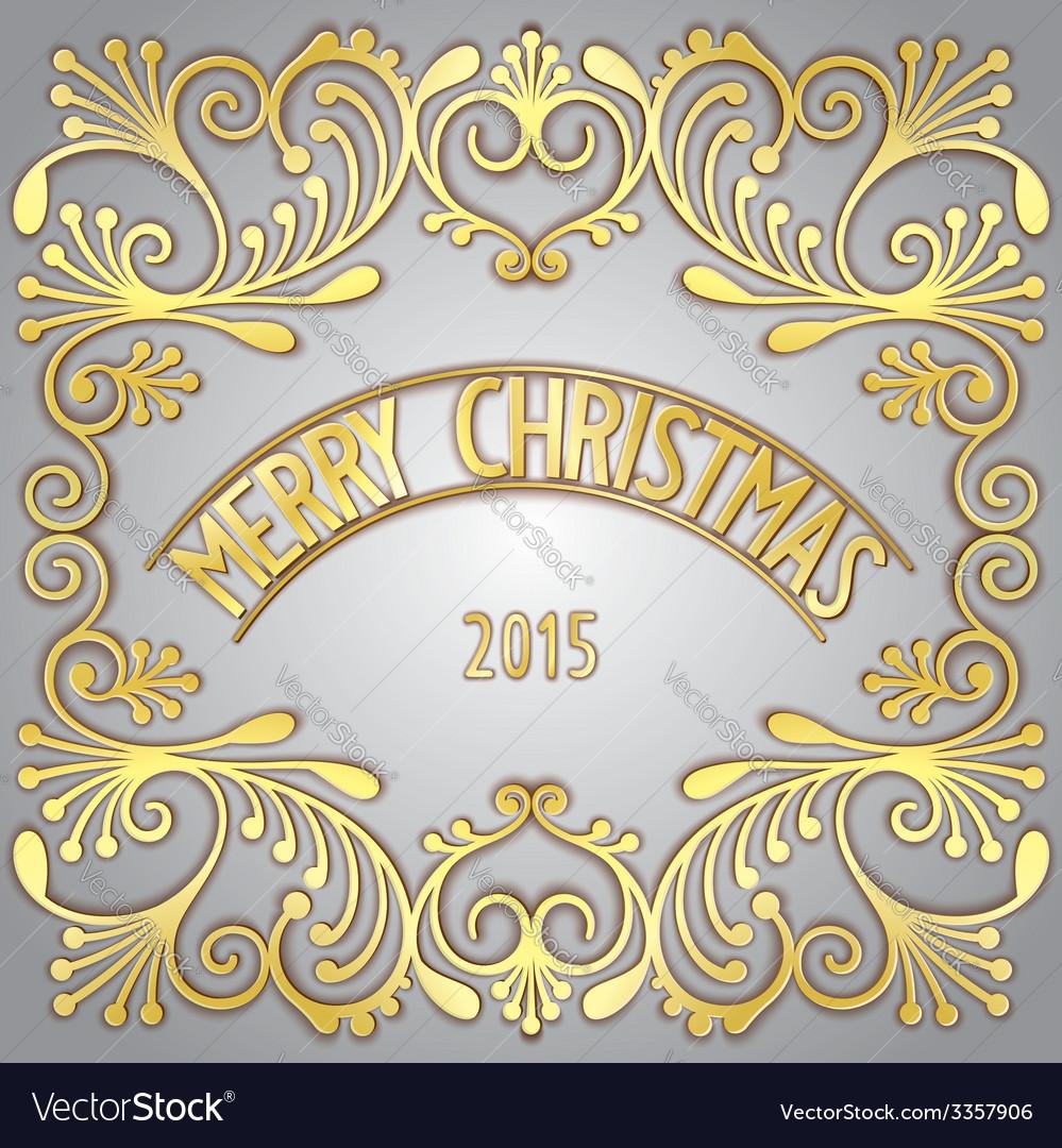 Merry christmas 3d golden signboard vector | Price: 1 Credit (USD $1)