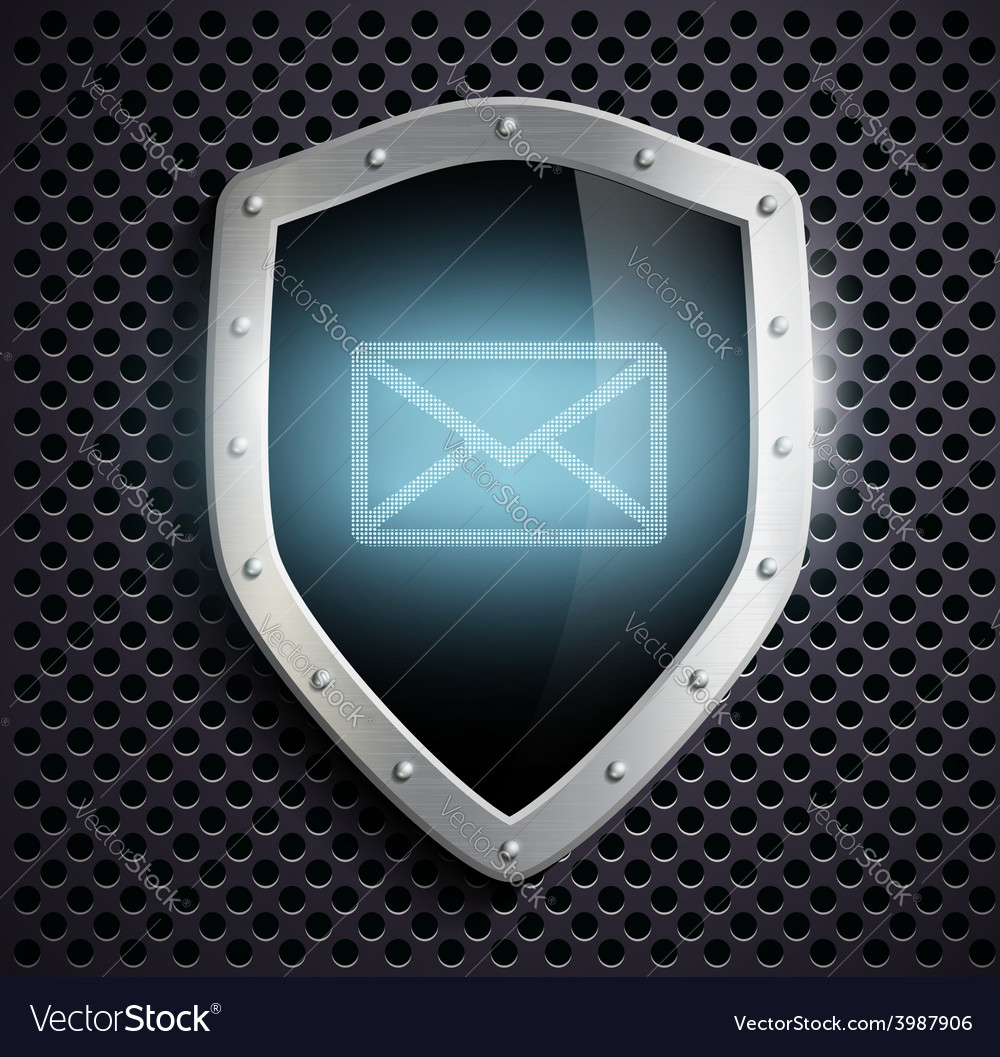 Metal shield with the image of the envelope vector | Price: 1 Credit (USD $1)