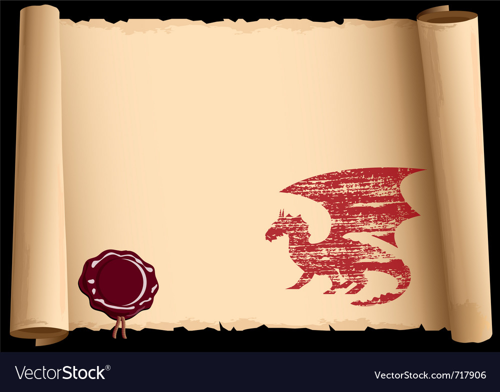 Old scroll with symbol 2012 year of dragon eps10 vector | Price: 1 Credit (USD $1)