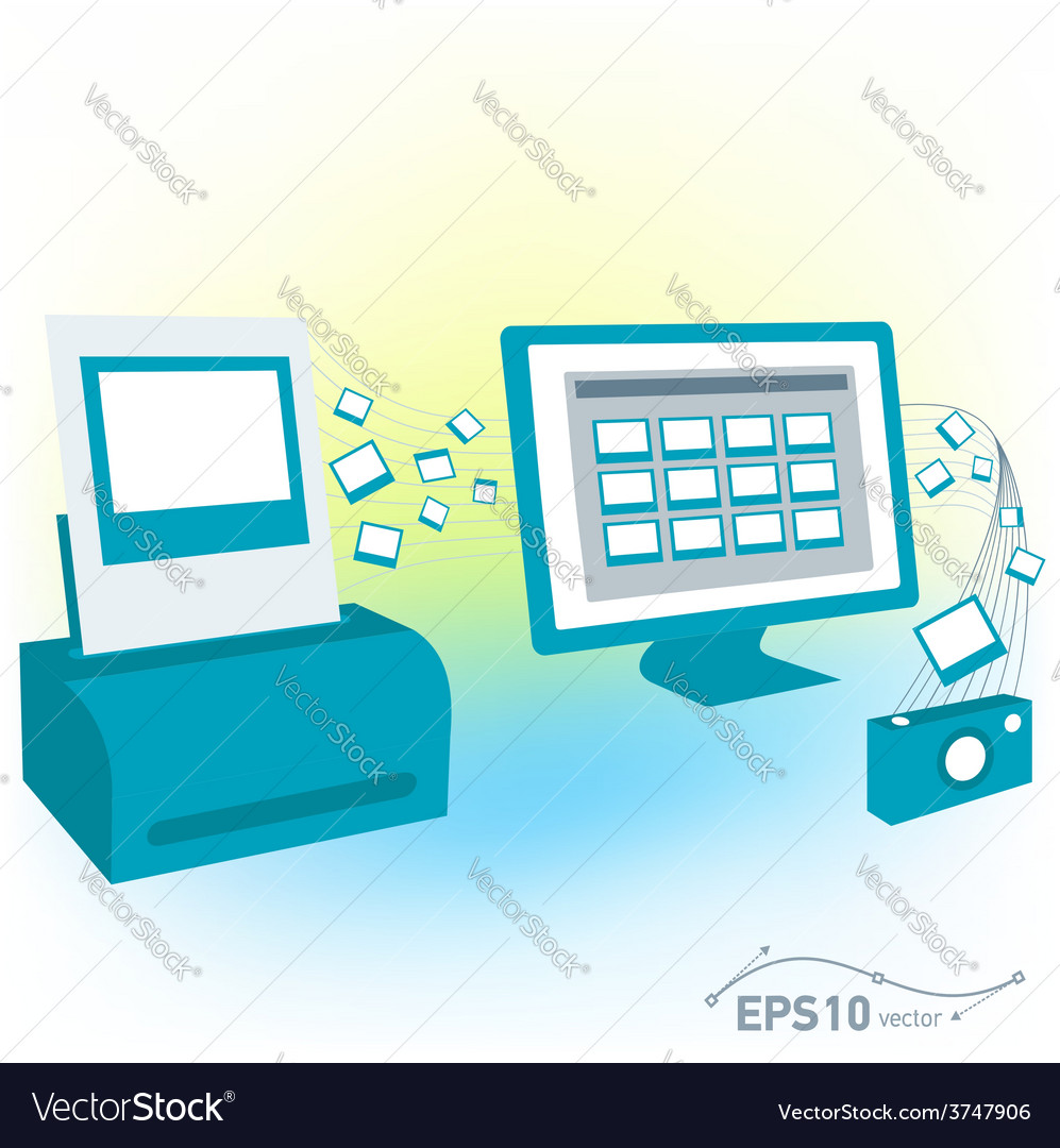 Pc computer monitor printed photo pictures of came vector | Price: 1 Credit (USD $1)