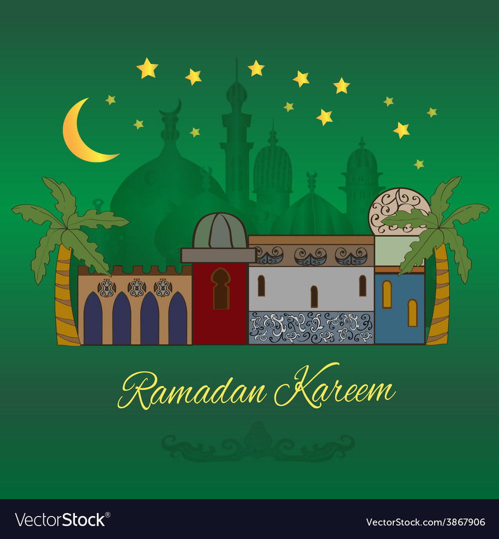 Ramadan kareem card in green vector | Price: 1 Credit (USD $1)