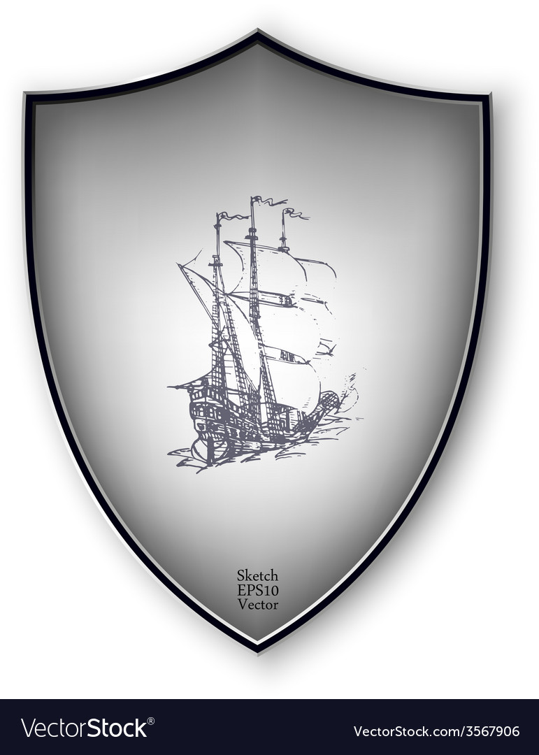 Sailing ship on the shield format vector | Price: 1 Credit (USD $1)