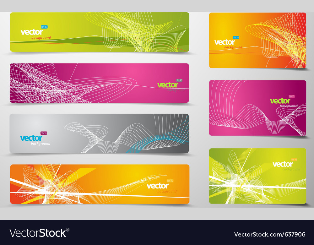 Set of abstract colorful web headers and gift card vector | Price: 1 Credit (USD $1)