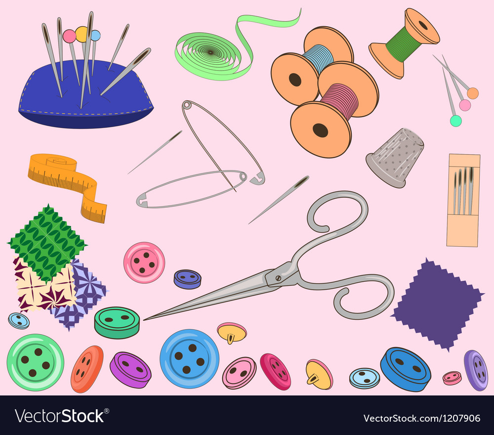 Sewing stuff set vector | Price: 1 Credit (USD $1)