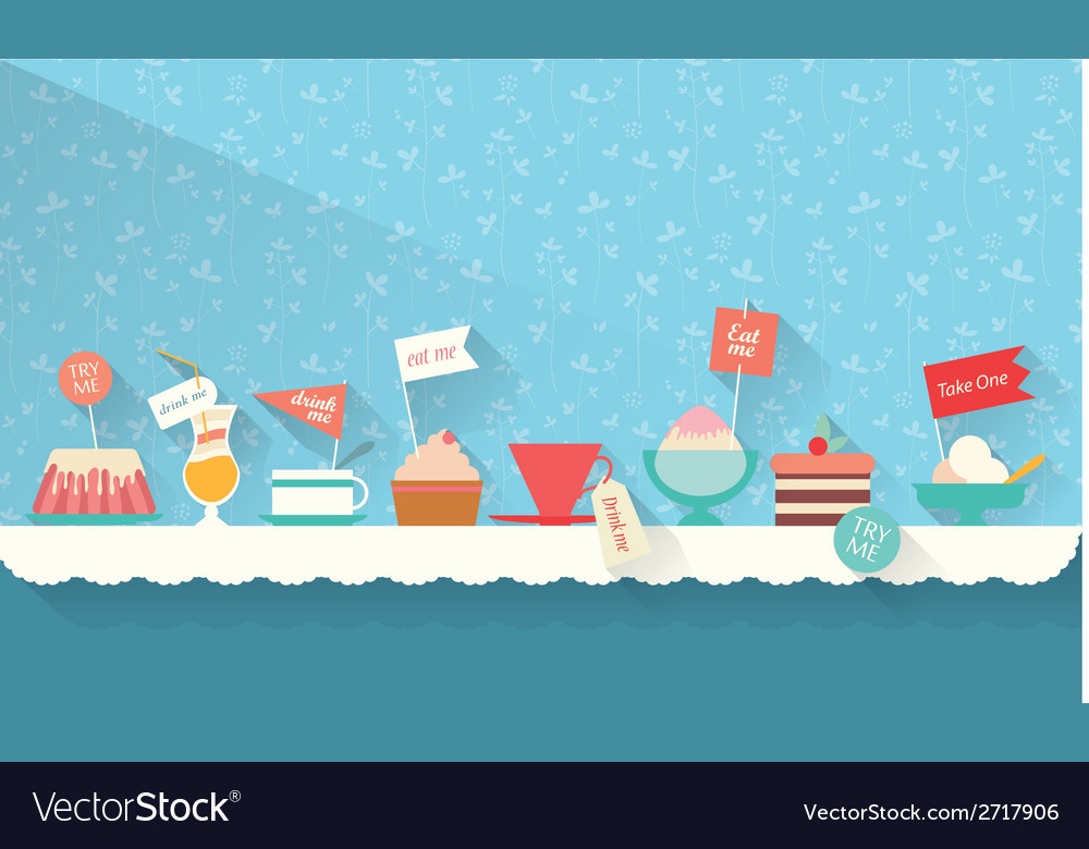 Sweets and dessert on the table vector | Price: 1 Credit (USD $1)