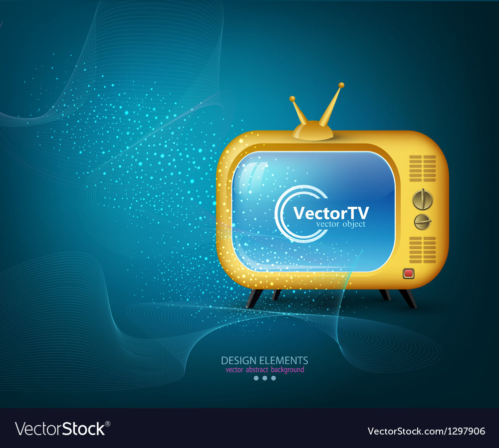 Tv yellow on a blue background vector | Price: 1 Credit (USD $1)