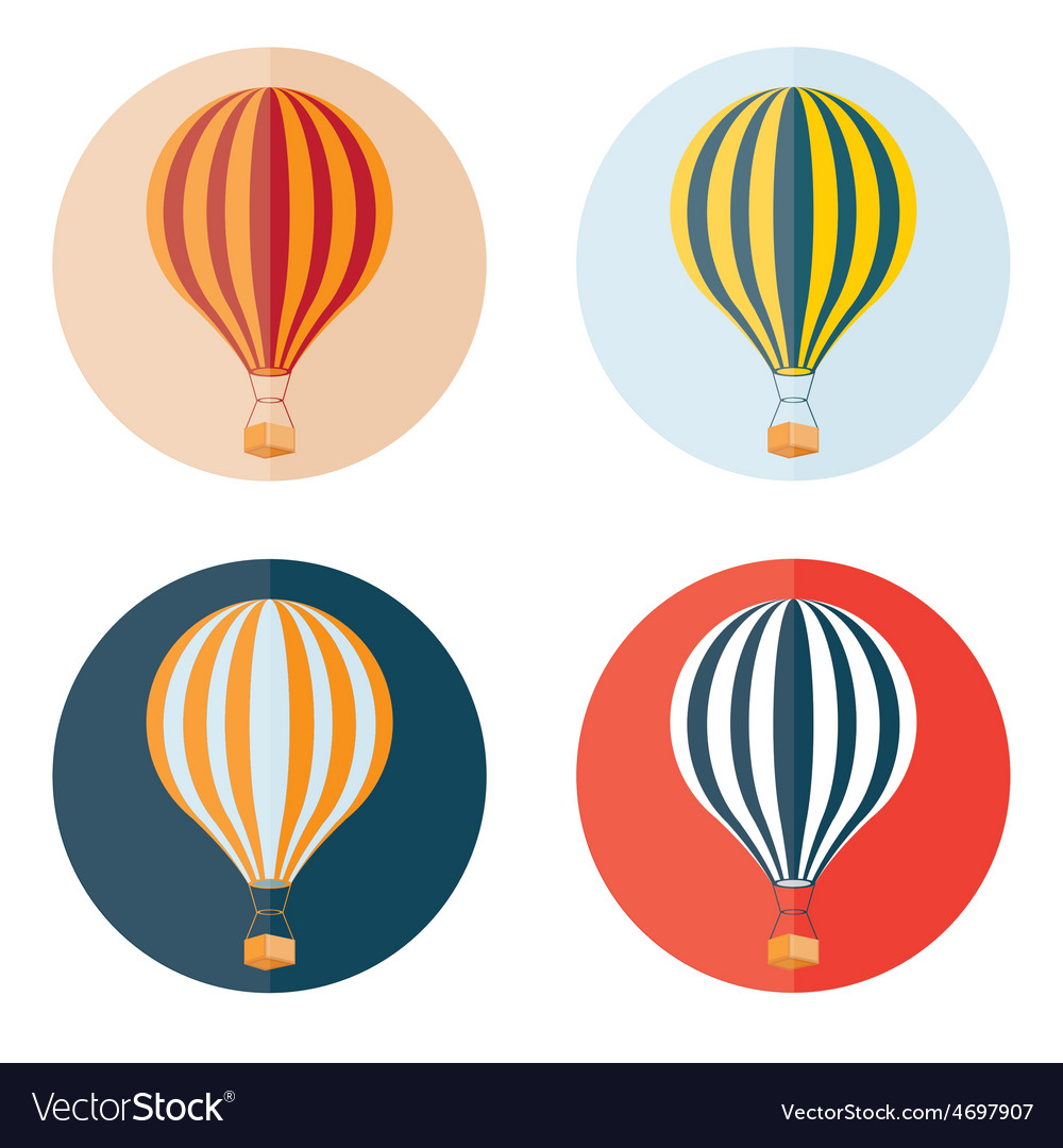 Air balloons flat design icons set vector | Price: 1 Credit (USD $1)