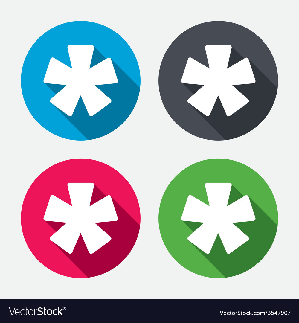 Asterisk footnote sign icon star symbol vector | Price: 1 Credit (USD $1)