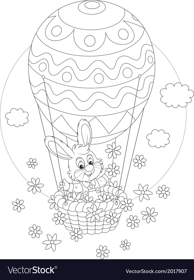 Easter bunny flying in a balloon vector | Price: 1 Credit (USD $1)