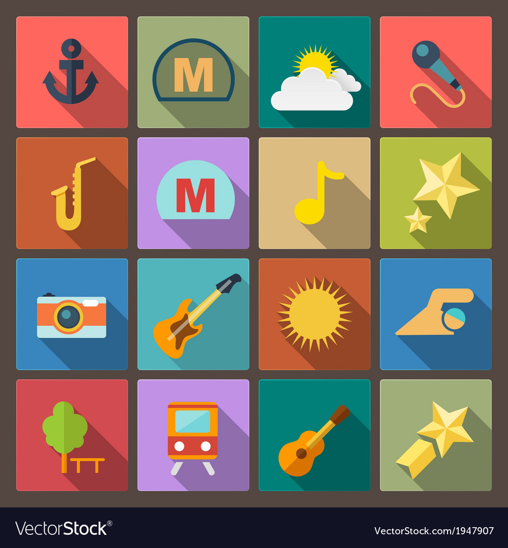 Entertainment icons in flat design style vector | Price: 1 Credit (USD $1)