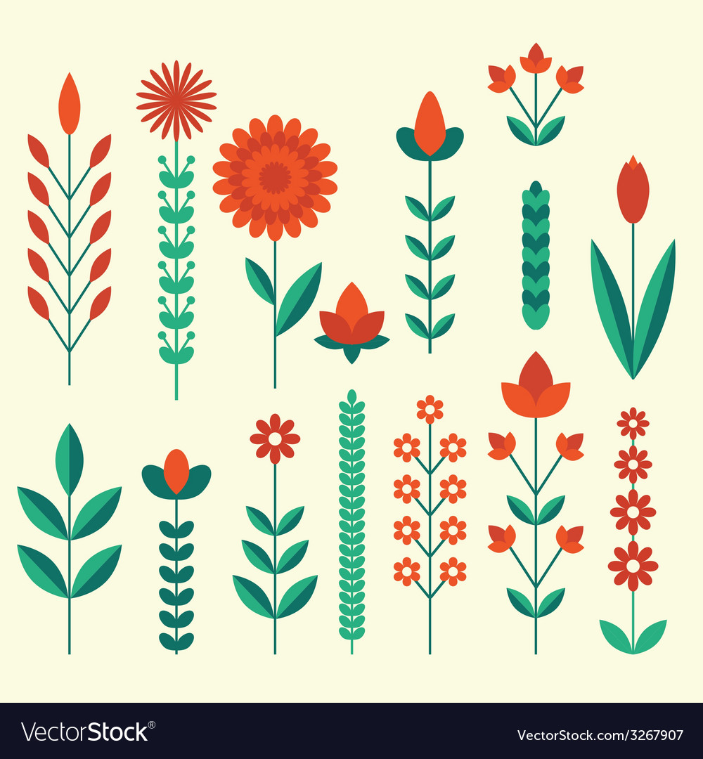 Geometric cute flower icons set vector | Price: 1 Credit (USD $1)
