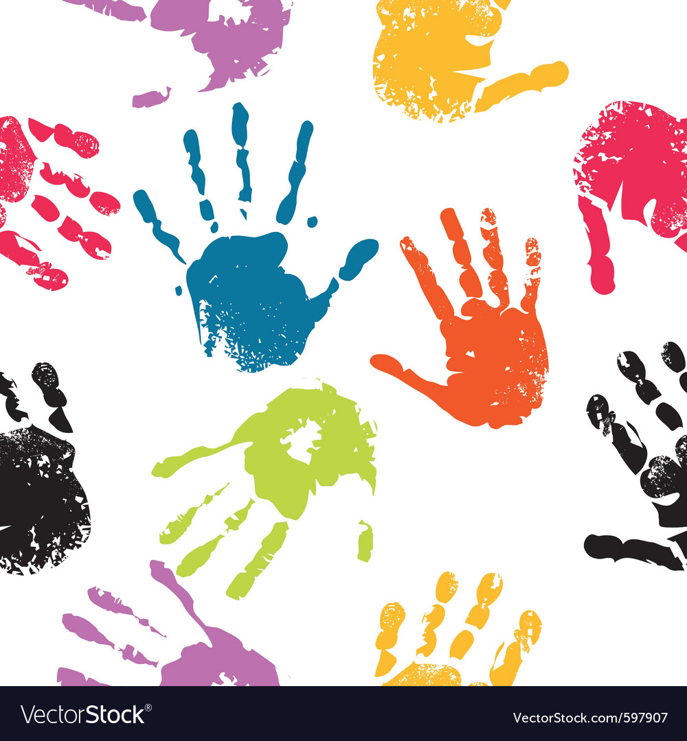 Hand prints seamless vector | Price: 1 Credit (USD $1)