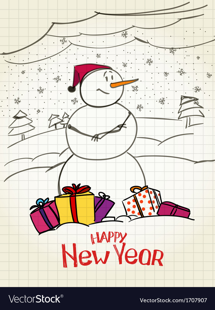 Happy snowman with gifts vector | Price: 1 Credit (USD $1)