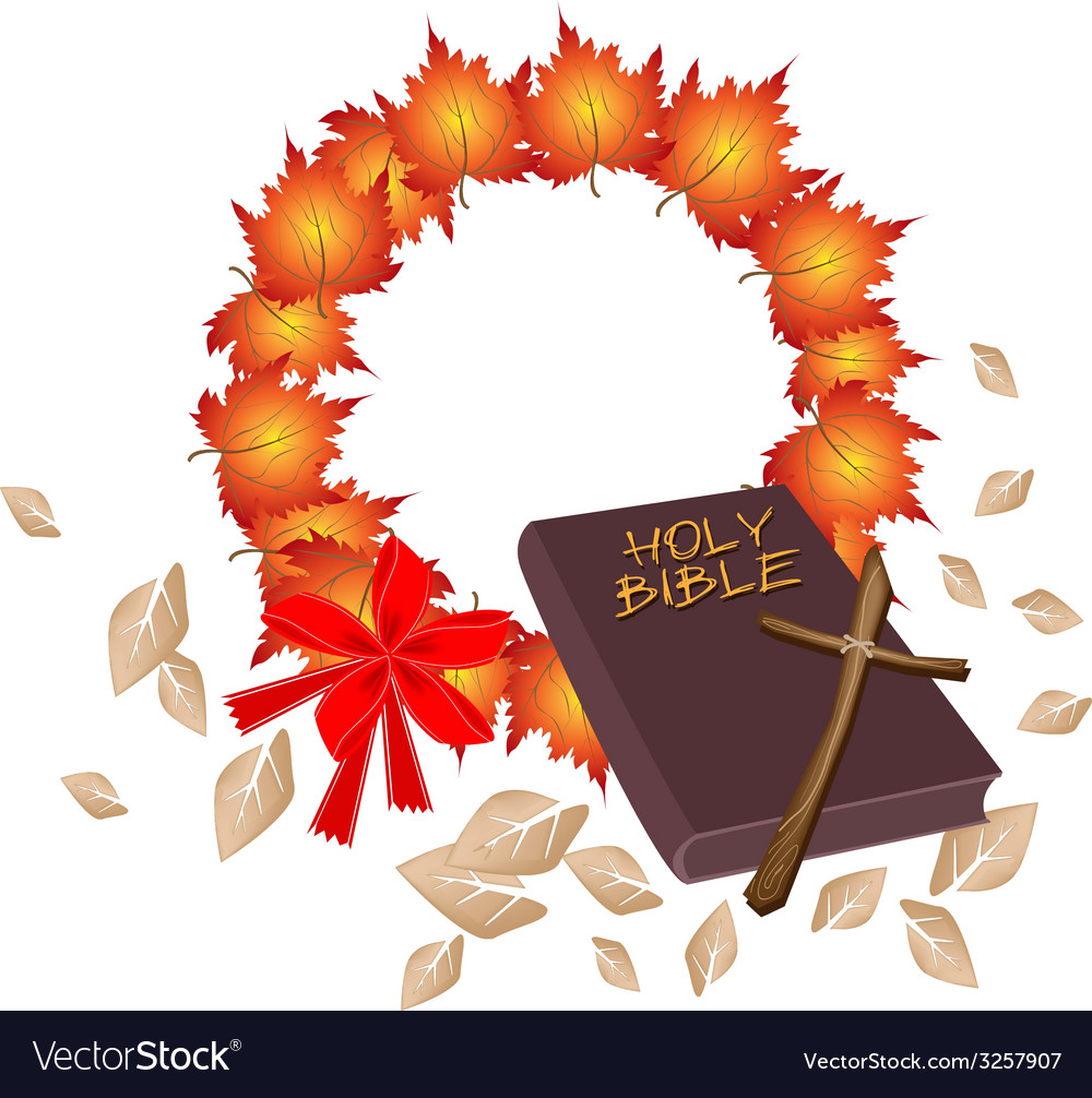 Holy bible with christmas wreath of orange maple vector | Price: 1 Credit (USD $1)