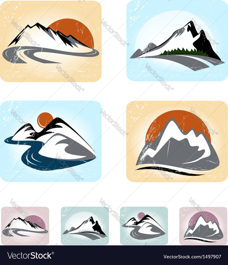 Mountains emblem set vector | Price: 1 Credit (USD $1)