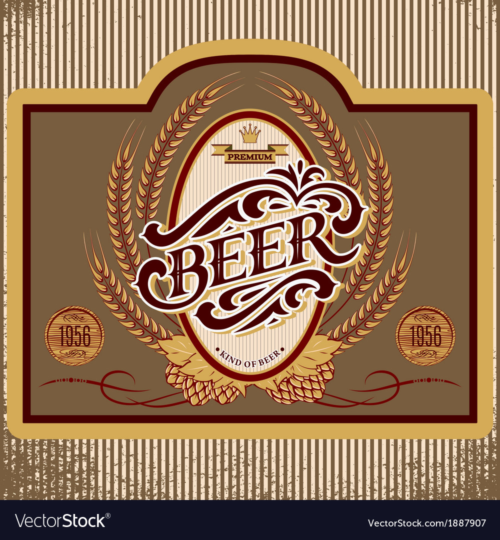 Oval label with ornament inscription for beer vector | Price: 1 Credit (USD $1)