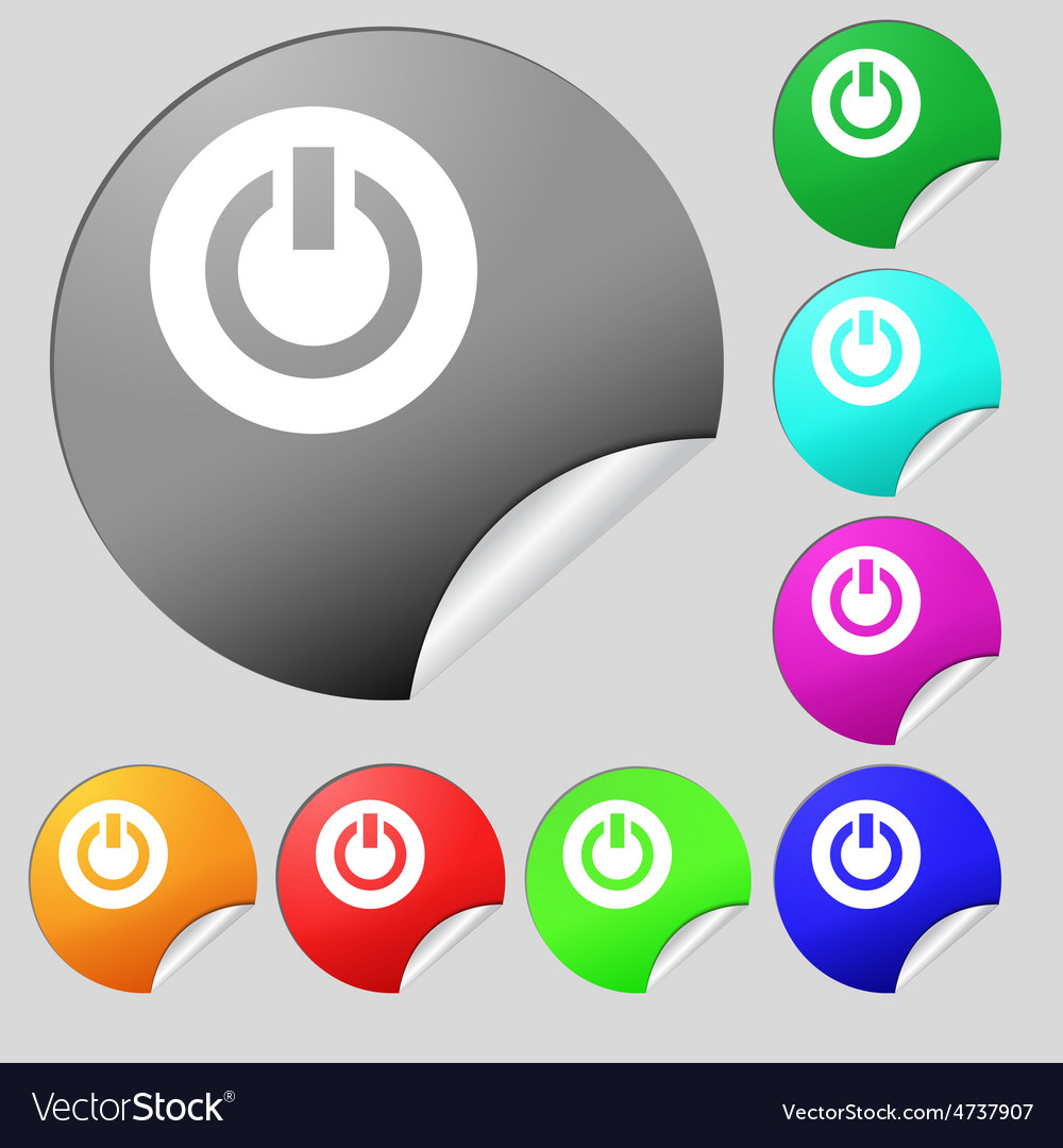 Power switch on turn on icon sign set of eight vector | Price: 1 Credit (USD $1)