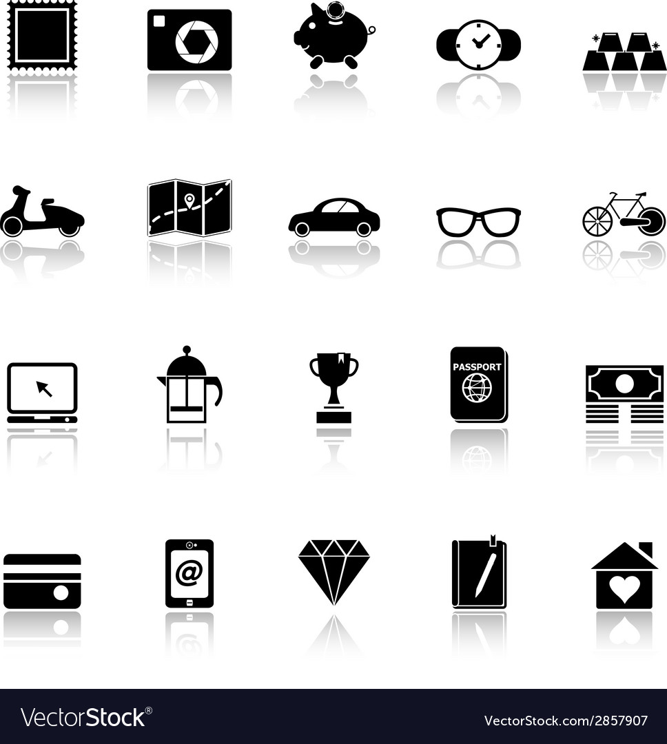 The useful collection icons with reflect on white vector | Price: 1 Credit (USD $1)