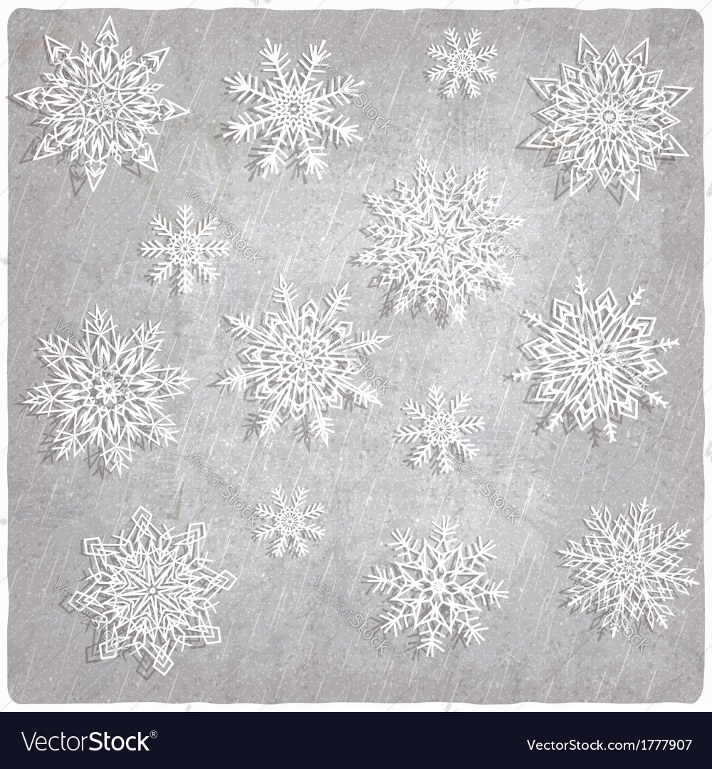 Vintage background with snowflake set vector | Price: 1 Credit (USD $1)