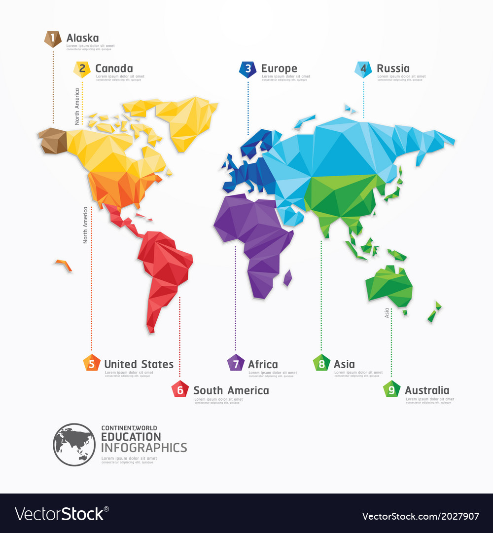 World map infographics geometric concept design vector | Price: 1 Credit (USD $1)