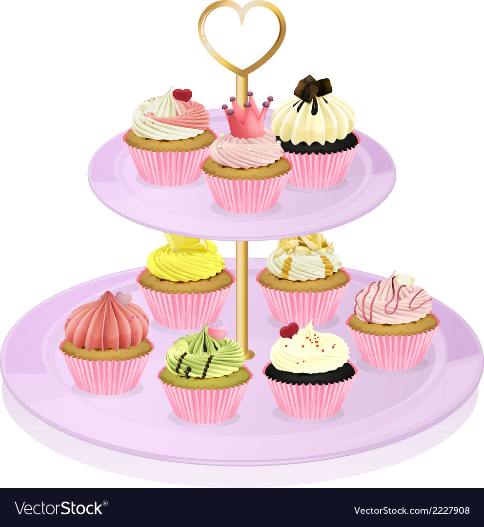 A cupcake stand with cupcakes vector | Price: 1 Credit (USD $1)