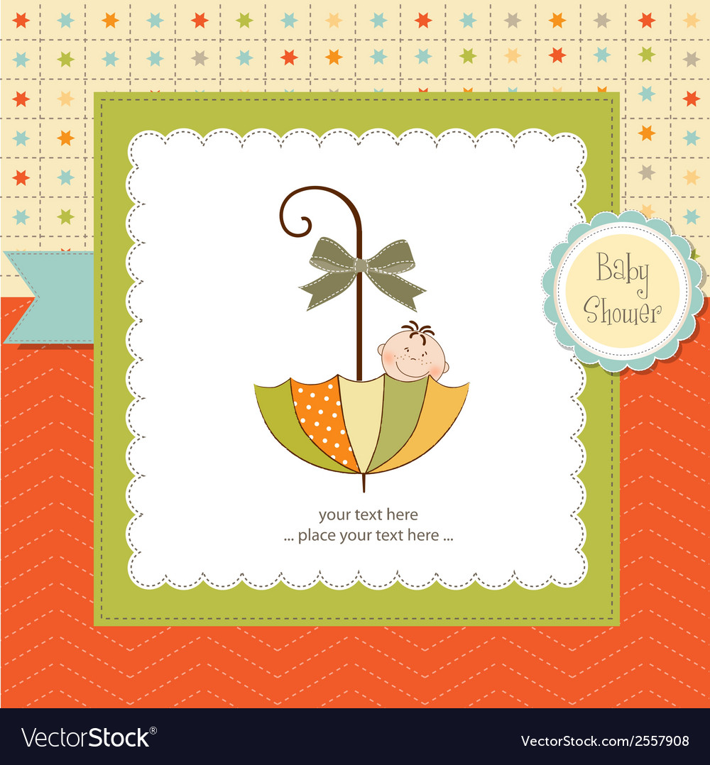 Baby shower card with umbrella vector | Price: 1 Credit (USD $1)