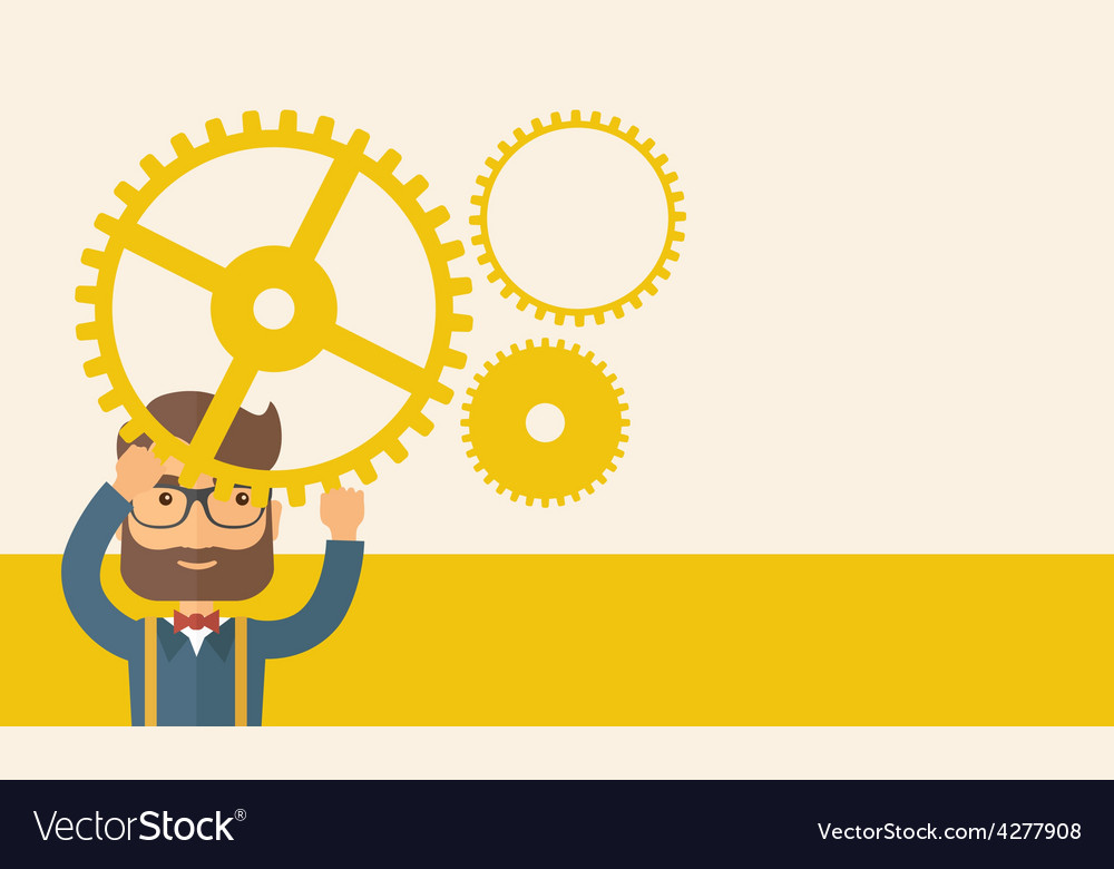 Businessman holding up gears vector | Price: 1 Credit (USD $1)
